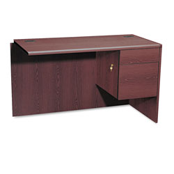 "Hon 10700 Series ""L"" Workstation Right Return, 3/4 Pedestal, Mahogany, 48 x 24"