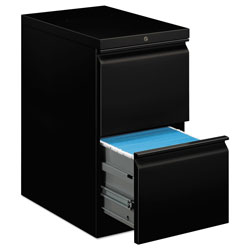 Hon Efficiencies Mobile Pedestal File, Two File Drawers, 22 7/8d, Black