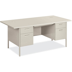 "Hon Metro Classic Series Double Pedestal Desk, 72"" x 36"", Gray"