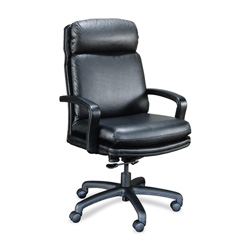 "High Point Furniture Leader 101 Executive Chair - 27.5"" x 29"" x 46.5"" - Leather Black Seat"