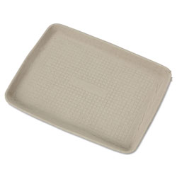 "Huhtamaki Molded Fiber Serving Tray, 9""x12"", Beige"