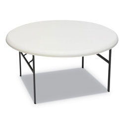 "Iceberg Indestruc Tables Too Folding Table, 60"" Round, Polyethylene/Steel, Platinum"