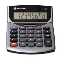 Innovera 15925 Minidesk Calculator, LCD Display, Battery/Solar Power. Sold Individually