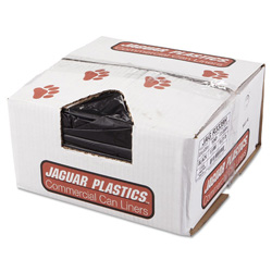 Jaguar Plastics Low Density Black Trash Bags, 33 Gallon, 1.5 Mil, Case of 150