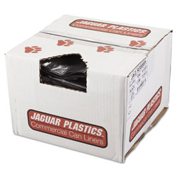 Jaguar Plastics Low Density Black Trash Bags, 56 Gallon, 1.5 Mil, Case of 100