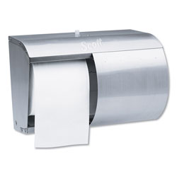 Kimberly-Clark Reflections Tissue Dispenser, 2 Roll, Coreless, 10-1/10 x 6-2/5 x 7-1/10, Silver