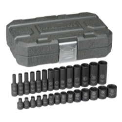 "KD Tools 28 PIece 1/4"" Drive 6 Point Metric Standard and Deep Impact Socket Set"