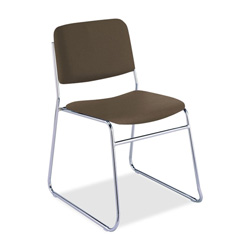 "KFI Seating 300 Series Armless Stacking Chair - Steel Chrome Frame19"" x 23"" x 31"" - Vinyl Brown Seat"