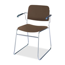 "KFI Seating 300 Series Stacking Chair with Arms - Steel Chrome Frame23"" x 23"" x 31"" - Vinyl Brown Seat"