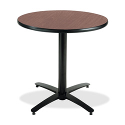 "KFI Seating T36RD-B2125 Pedestal Table - Round - 36"" - Cast Iron - Black Base, Mahogany Top"