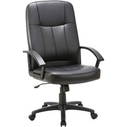 "Lorell High Back Chair, Leather, 26""x29 1/2""x49 13/16"", Black"