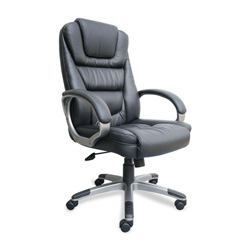 "Lorell B8601 High Back Executive Chair - 26.5"" x 28"" x 48.5"" - Leather Black Seat"