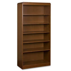 "Lorell Radius Veneer Bookcase, 7 Shelves, 36"" x 12"" x 84"", Cherry"