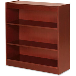 "Lorell 3 Shelf Veneer Panel Bookcase, 36"" x 12"" x 36"", Cherry"