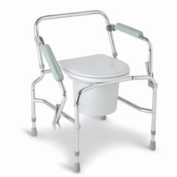 Medline Drop Arm Steel Commode - Commode, Drop Arm, Chrome Plated, Steel