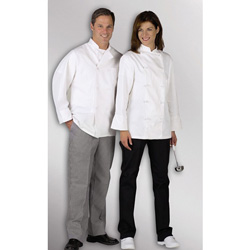 Medline Pearl Button Chef Coat - Coat, Chef, Unisex, L/S, Plast Bttn, Whi, Med