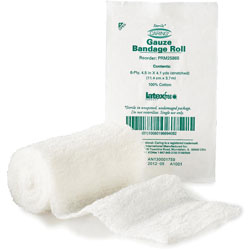 "Medline Gauze Bandage Roll, Six-Ply, 4-1/2""x,4 Yards, 100/BX, White"