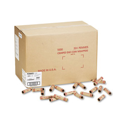 MMF Preformed Kraft Paper Tubular Coin Wrappers, Holds 50 Pennies, Red, 1000/Box
