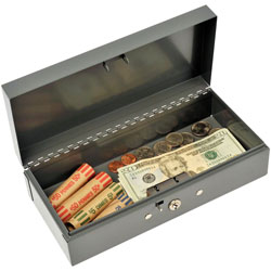 "MMF Cash Box, Piano Hinges, Key Entry, 10 1/4"" x 4 3/4"" x 2 7/8"" GY"