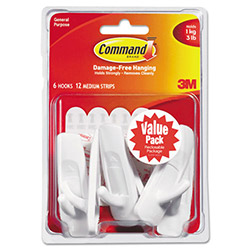 3M Command Adhesive Hook Value Pack, Medium, Holds 3-lb, White, 6/Pack