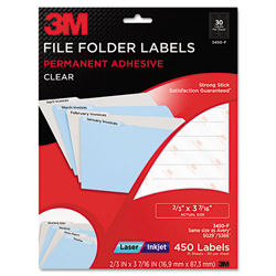 3M Permanent Adhesive Clear Filing Labels, 2/3 x 3-7/16, Clear, 450/Pack