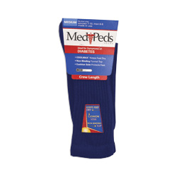 Americal Medipeds Diabetic Crew Sock, Medium, Navy