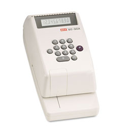Max USA Model EC30A Electronic Checkwriter, 43/8w x 91/8d x 33/4h, White