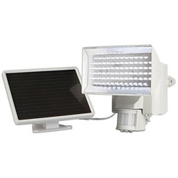 MAXSA Innovations Solar Powered Motion-Activated 80 LED Security Floodlight, White
