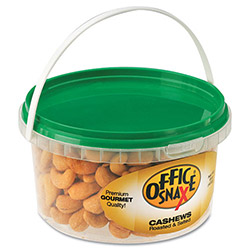 Office Snax Cashew Nuts, 15 Oz., Tub