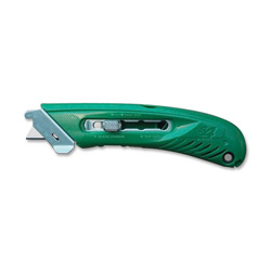 Pacific Handy Cutter Right-Handed Safety Cutter, Lever Release F/Blades, Green