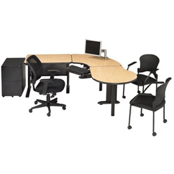 RightAngle Ergonomic R-Style 2436PL1 Left Workstation - Silver Base