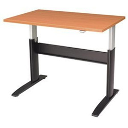 "RightAngle Ergonomic NewHeights 2448NHWT Electric Table - Rectangle - 24"" x 48"" x 47"" - Steel - Black Base"