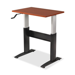 "RightAngle Ergonomic NewHeights 2460NCWT Crank Height Adjustable Table with U-Channel - Rectangle - 60"" x 24"" x 47"" - Black Base"