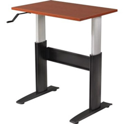 "RightAngle Ergonomic NewHeights 2472NCWT Crank Height Adjustable Table with Support Channel - Rectangle - 72"" x 24"" x 47"" - Silver Base"
