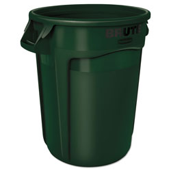 Brute® Round Plastic Outdoor Trash Can, 32 Gallon, Green
