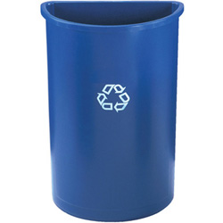 Rubbermaid Half-Round Recycling Container, Plastic, 21 gal, Blue