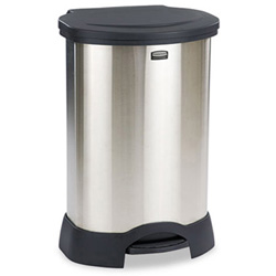 Rubbermaid Step-On Container, Oval, Stainless Steel, 30 gal, Black