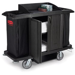 Rubbermaid Black Full Size Housekeeping cart with Door 60 X 22 X 50