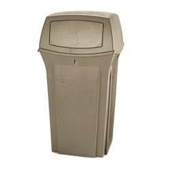 Rubbermaid Square Metal Outdoor Trash Can, 35 Gallon, Black