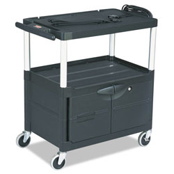 Rubbermaid Audio-visual Cart, 3 Shelves w/ Cabinet, 3 Outlets, Black. Each