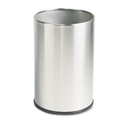 Rubbermaid Round Metal Desk Wastebasket, 5 Gallon, Stainless Steel
