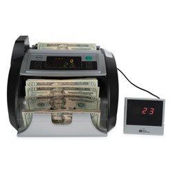"Royal Sovereign International Electric Bill Counter w/Counterfeit Detection,1000 Bills/Min., 13""Wx9.5""Dx7.9""H, Black/Silver"