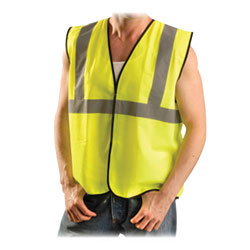 R3 Safety Safety Vest Class II, L-XL, Silver Reflective Tape, Yellow