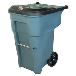 Brute® Roll-Out Plastic Outdoor Trash Can, 65 Gallon, Gray