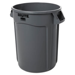 Brute® Round Plastic Outdoor Trash Can, 32 Gallon, Gray