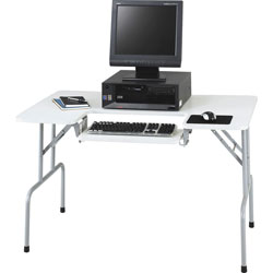 "Safco Folding Computer Table with Adjustable Keyboard Shelf, 47 1/2"" Wide, Gray"