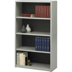Safco Value Mate Series Steel Four Shelf Bookcase, 31 3/4wx13 1/2dx54h, Gray