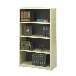 Safco Value Mate Series Steel Four Shelf Bookcase, 31 3/4w x 13 1/2d x 54h, Sand