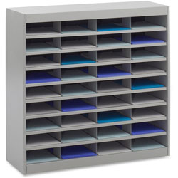 "Safco E Z Stor® Steel Literature Center, Letter, 36 Compartments, 36 1/2""h, Gray"