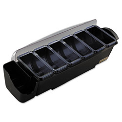 San Jamar The Dome Bar Garnish Center, 8-Compartments, Black/Clear, 3 Quarts